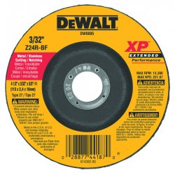 "Dewalt - DW8805 - 4-1/2"" x 3/32"" Depressed Center Wheel, Zirconia Alumina, 5/8""-11 Arbor Size, Type 27"