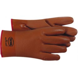 """Boss / Cat Gloves - 1SP3610 - (pkg/6) Putrid Bwn Pvc Foam Lined 10"""", Pr"""