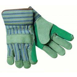 Memphis Glove - 1411A - Dbl Leather Palm Glove Blue W/ Elastic Sew