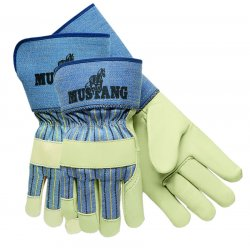 Memphis Glove - 127-1935L - Mustang Leather Palm Gloves, Blue/Cream, Large, 12 Pairs