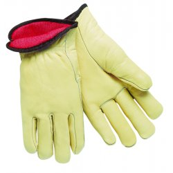 Memphis Glove - 3250M - Red Fleece Lined Leathergrain Glove Cream Color