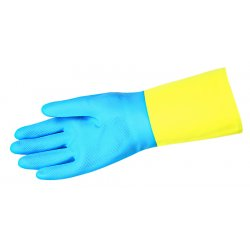 Memphis Glove - 5409S - Neoprene/Latex Chemical Resistant Gloves, 28 mil Thickness, Flock Lining, Size L, Blue/Yellow, PK 12