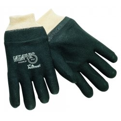 Memphis Glove - 6200SJ - PVC Chemical Resistant Gloves, Standard Weight Thickness, Jersey Lining, Size L, Black, PR 1