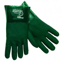 Memphis Glove - 6414 - PVC Chemical Resistant Gloves, Standard Weight Thickness, Jersey Lining, Size L, Green, PK 12