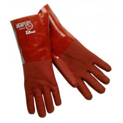 "Memphis Glove - 6452S - 12"" Gauntlet Pvc Blend-red Gloves Rough Finis"