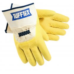 Memphis Glove - 6820 - Latex Coated Gloves, Size L, Natural/Yellow