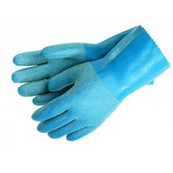 "Memphis Glove - 6852L - 12"" Large Blue Grit Rubber Ctd Interlock Lnd"