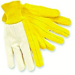 Memphis Glove - 8516 - Reg. Weight Canvas Backwhite Knit Wrist Golde