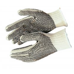 Memphis Glove - 9660LM - Memphis Glove White And Brown Large 7 Gauge Cotton And Polyester String Knit Work Gloves With Knit Wrist