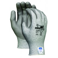 Memphis Glove - 9676S - Polyurethane Cut Resistant Gloves, ANSI/ISEA Cut Level 2, Dyneema® Lining, Gray/Salt and Pepper, S,