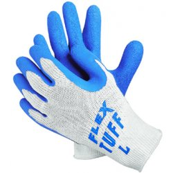 Memphis Glove - 127-9680L - FlexTuff Latex Dipped Gloves, White/Blue, Large, 12 Pairs