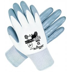 Memphis Glove - 9683S - Memphis Small UltraTech 15 Gauge Cut And Abrasion Resistant Gray Nitrile Dipped Palm And Finger Coated Work Gloves With Knit Wrist