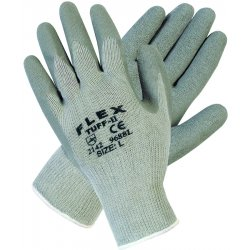 Memphis Glove - 9688S - Memphis Small FlexTuff 10 Gauge Abrasion Resistant Gray Latex Dipped Palm And Fingertip Coated Work Gloves With Cotton And Polyester Liner And Knit Wrist