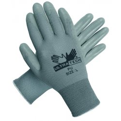 Memphis Glove - 9696M - Memphis Medium UltraTech PU 13 Gauge Cut And Abrasion Resistant Gray Polyurethane Dipped Palm And Finger Coated Work Gloves With Nylon Liner And Knit Wrist