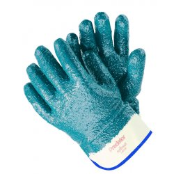 Memphis Glove - 9760R - Nitrile Chemical Resistant Gloves, 18 mil Thickness, Jersey Lining, Size L, Blue/White, PK 12