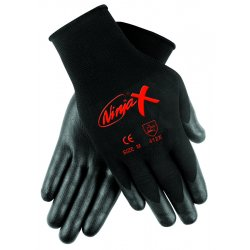 Memphis Glove - N9674M - Memphis Medium Ninja X 15 Gauge Black Nitrile, Polyurethane And Bi-Polymer Dipped Palm And Fingertip Coated Work Gloves With Lycra And Nylon Liner And Knit Wrist
