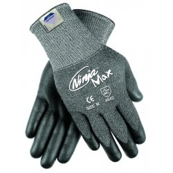 Memphis Glove - N9676GM - Memphis Medium Ninja Max 10 Gauge Cut Resistant Black DSM Dyneema Bi-Polymer Palm And Fingertip Coated Work Gloves With Knit Wrist