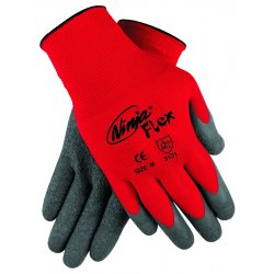 Memphis Glove - N9680L - Memphis Large Ninja Flex 15 Gauge Gray Latex Dipped Palm Coated Work Gloves With Nylon Liner And Knit Wrist
