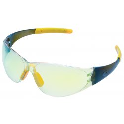 Crews - CK229Y - Crews Checkmate 2 Safety Glasses With Polycarbonate Frame, Clear Indoor/Outdoor Mirror Polycarbonate Duramass Anti-Scratch Lens And Yellow Temple Sleeve