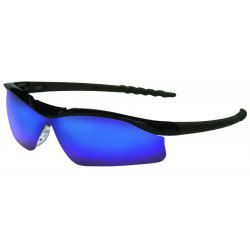 Crews - DL118B - Crews Dallas Safety Glasses With Black Polycarbonate Frame, Blue Diamond Mirror Polycarbonate Duramass Anti-Scratch Lens And Black Temple Sleeve