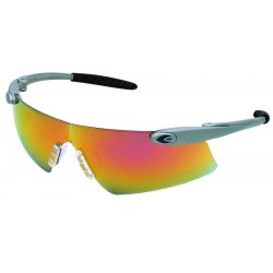Crews - DS149 - Crews Desperado Safety Glasses With Silver Nylon Frame, Clear Indoor/Outdoor Mirror Polycarbonate Duramass Anti-Scratch Lens And Black Temple Sleeve