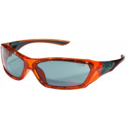 Crews - FF137 - Crews ForceFlex Safety Glasses With Translucent Orange Thermo Plastic Urethane Frame, Silver Mirror Polycarbonate Duramass Anti-Fog Anti-Scratch Lens And Black Temple Sleeve