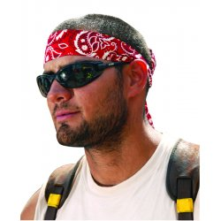 Ergodyne - 12315 - Ergodyne Red Western Chill-Its 6705 Lightweight Cotton Evaporative Cooling Bandana/Headband With Hook And Loop Closure