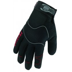 Ergodyne - 16274 - ProFlex Utility Gloves - 9 Size Number - Large Size - Woven Cuff, Terrycloth Thumb, Synthetic Leather Palm - Black - Elastic Cuff, Reinforced Fingertip, Breathable, Air Vent, Durable, Comfortable - For Material Handling,