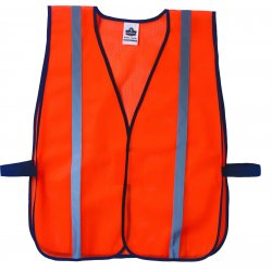 "Ergodyne - 20030 - Ergodyne Hi-Viz Orange GloWear 8020HL 2.6 oz Polyester Mesh Standard Vest With Front Hook And Loop Closure And 1"" Reflective Tape"