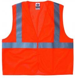 "Ergodyne - 21013 - Ergodyne Small - Medium Hi-Viz Orange GloWear 8210HL Economy 3.3 oz Polyester Mesh Class 2 Vest With Front Hook And Loop Closure And 2"" Level 2 Reflective Tape"
