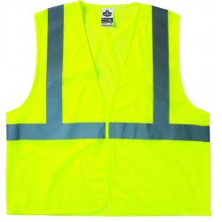 "Ergodyne - 21027 - Ergodyne 2X - 3X Hi-Viz Lime GloWear 8210HL Economy 3.3 oz Polyester Mesh Class 2 Vest With Front Hook And Loop Closure And 2"" Reflective Tape And 1 Pocket"