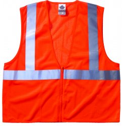 "Ergodyne - 21045 - Ergodyne Large - X-Large Hi-Viz Orange GloWear 8210Z Economy 3.3 oz Polyester Mesh Class 2 Vest With Front Zipper Closure And 2"" Reflective Tape And 1 Pocket"