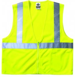 "Ergodyne - 21053 - Ergodyne Small - Medium Hi-Viz Lime GloWear 8210Z Economy 3.3 oz Polyester Mesh Class 2 Vest With Front Zipper Closure And 2"" Reflective Tape And 1 Pocket"