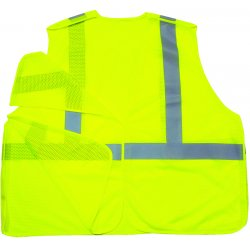 "Ergodyne - 21073 - Ergodyne Small - Medium Hi-Viz Lime GloWear 8215BA Economy 3.3 oz Polyester Mesh Class 2 5-Point Break-Away Vest With Front Hook And Loop Closure And 2"" Reflective Tape And 1 Pocket"