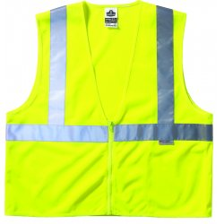 "Ergodyne - 21123 - Ergodyne Small - Medium Hi-Viz Lime GloWear 8220Z 3.3 oz Polyester Mesh Class 2 Standard Vest With Front Zipper Closure And 3M Scotchlite 2"" Reflective Tape And 3 Pockets"