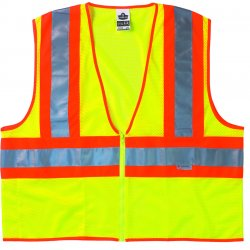 "Ergodyne - 21329 - Ergodyne 4X - 5X Hi-Viz Lime GloWear 8230Z 3.3 oz Polyester Mesh Class 2 Two-Tone Vest With Front Zipper Closure And 3M Scotchlite 2"" Level 2 Reflective Tape And 1 Pocket"