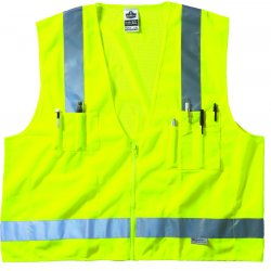 "Ergodyne - 21425 - Ergodyne Large - X-Large Hi-Viz Lime GloWear 8250Z 3.6 oz Solid Polyester Mesh Class 2 Surveyor's Vest With Front Zipper Closure And 3M Scotchlite 2"" Level 2 Reflective Tape And 5 Pockets"