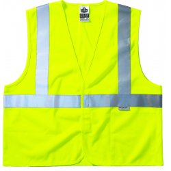 "Ergodyne - 21475 - Ergodyne Large - X-Large Hi-Viz Lime GloWear 8255HL 3.6 oz Treated Solid Polyester Class 2 Vest With Front Hook And Loop Closure And 3M Scotchlite FR 2"" Level 2 Reflective Tape And 1 Pocket"