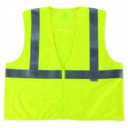 "Ergodyne - 21499 - Ergodyne 4X - 5X Hi-Viz Lime GloWear 8260FRHL 5.4 oz Flame Retardant Modacrylic Mesh Class 2 Vest With Front Hook And Loop Closure And 3M Scotchlite FR 2"" Level 2 Reflective Tape And 2 Pockets"