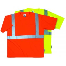 "Ergodyne - 21504 - Ergodyne Large Hi-Viz Lime GloWear 8289 Birdseye Economy Light Weight Moisture Wicking Polyester Knit Class 2 Breathable T-Shirt With 2"" Tape And 1 Pocket"