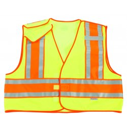 "Ergodyne - 23395 - Ergodyne Large - X-Large Hi-Viz Green GloWear 8245PSV 3.6 oz Polyester Mesh 5-Point Break-Away Public Safety Vest With 3M Scotchlite 1"" Level 2 Reflective Tape And 1 Pocket"