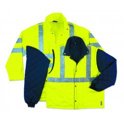 "Ergodyne - 24389 - Ergodyne 5X Hi-Viz Lime GloWear 8385 Oxford Polyurethane Class 3 4-in-1 Weatherproof Jacket With Zipper, Storm Flap And Snap Closure, 3M Scotchlite 2"" Level 2 Reflective Tape, Removable And Reversible Sleeves, Inset Hood With Drawstring"