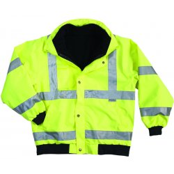 Ergodyne - 24494 - Ergodyne Large Hi-Viz Lime GloWear 8380 Bomber Polyester Class 3 Weatherproof Jacket With Zipper, Storm Flap And Snap Closure, 3M Scotchlite Level 2 Reflective Tape, Inset Hood With Drawstring And Stoppers