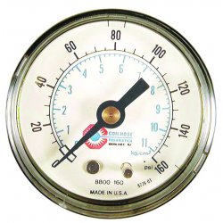 "Coilhose Pneumatics - 8800-160 - 15060 2"" Pressure Gauge0-160psi 1/4"" Back M, Ea"