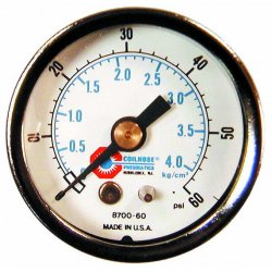 """Coilhose Pneumatics - G14160 - 30221 160psi 2"""" Pressuregauge 1/4""""npt Cbm, Ea"""