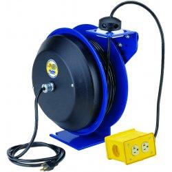 Coxreels / Coxwells - EZ-PC13-5012-B - Blue Retractable Cord Reel, 20 Max. Amps, Cord Ending: Quad Box Receptacle, 50 ft. Cord Length