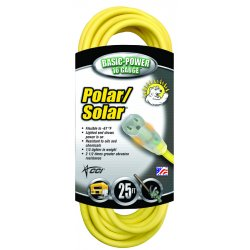 Coleman Cable - 172-01488 - Polar/Solar Outdoor Extension Cord, 50ft, Yellow