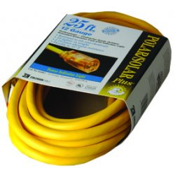 Coleman Cable - 172-01687 - Polar/Solar Indoor-Outdoor Extension Cord With Lighted End, 25ft, Yellow