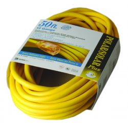 Coleman Cable - 016880002 - Coleman Cable 016880002 Lighted Extension Cord, SJTW, 12/3 AWG, Yellow, 50', Outdoor