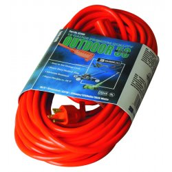Coleman Cable - 02308 - Vinyl Outdoor Extension Cord, 50ft, 13 Amp, Orange